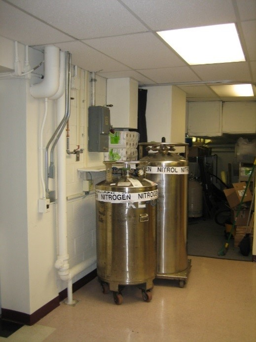 Large stainless steel pressurized cryogen dewars on wheels