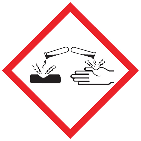GHS pictogram for corrosive hazard.  Red bordered diamond surface and hand being burned by corrosive liquid from test tube.