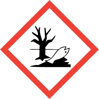 GHS pictogram for environmental hazard.  Red bordered diamond with black puddle under a dead tree with a dead fish.