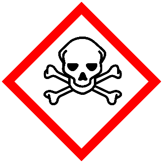 GHS Toxic Pictogram. Red bordered diamond with skull and crossbones