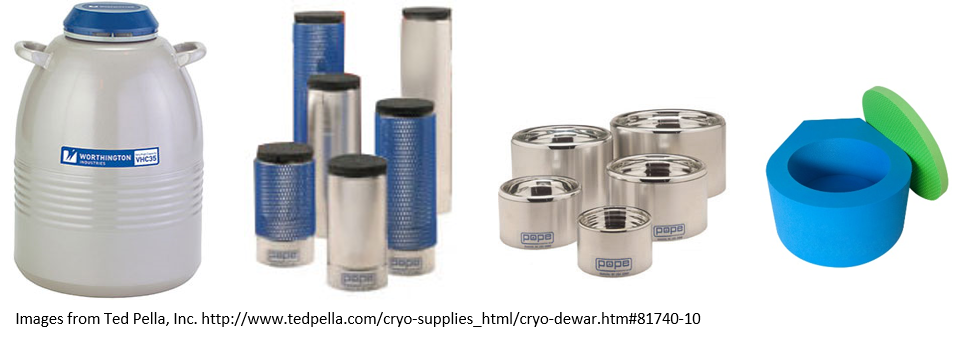 Various small insulated containers designed for holding cryogens