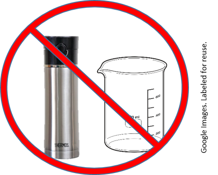A drink thermos and glass beaker with a buster sign superimposed on them