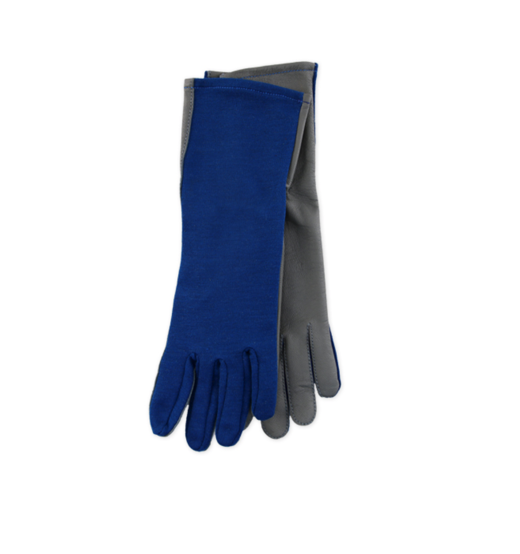 blue nomex gloves with leather palm