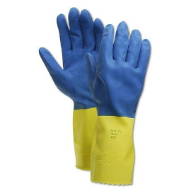 Blue and Yellow Chemical Resistant Gloves with Extended Gauntlet