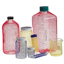 glass flasks in poly netting