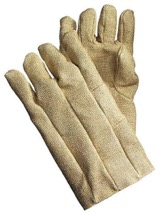 A pair of bulky gloves made of woven cotton