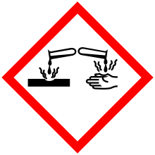 GHS corrosive pictogram red bordered diamond with test tube dripping liquid onto surface and onto hand with wavy lines indicating burning reaction on contact
