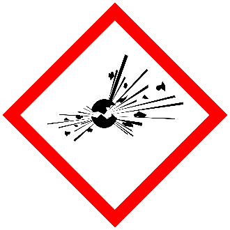 GHS explosion pictogram red bordered diamond with exploding sphere symbol