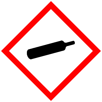 GHS compressed gas pictogram red bordered diamond with silhouette of compressed gas cylinder