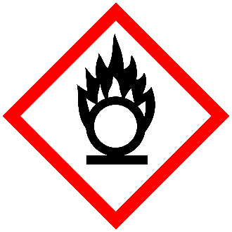 GHS oxidizer pictogram red bordered diamond with flaming letter O symbol